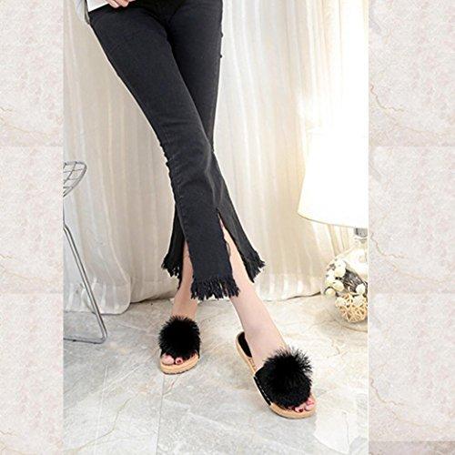 en Chaussures Femme Mules Fourrure Plates Flats Soldes Enfiler Fausse Chaussons Noir Casual à Slippers DéContracté Overdose 1r0rt