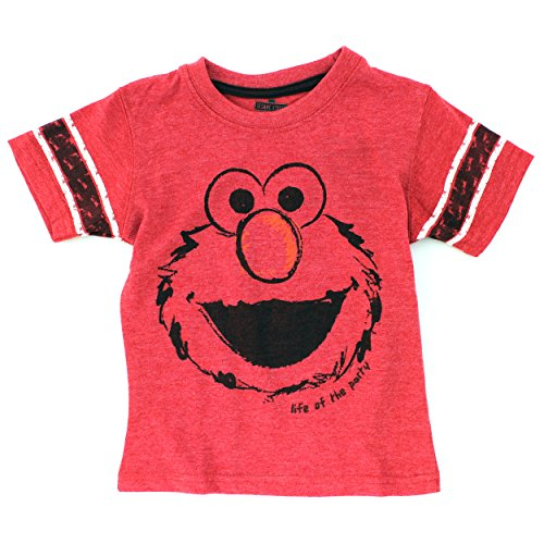 Sesame Street Toddler Boys Short Sleeve Tee (4T, Red Elmo Life of The Party) -