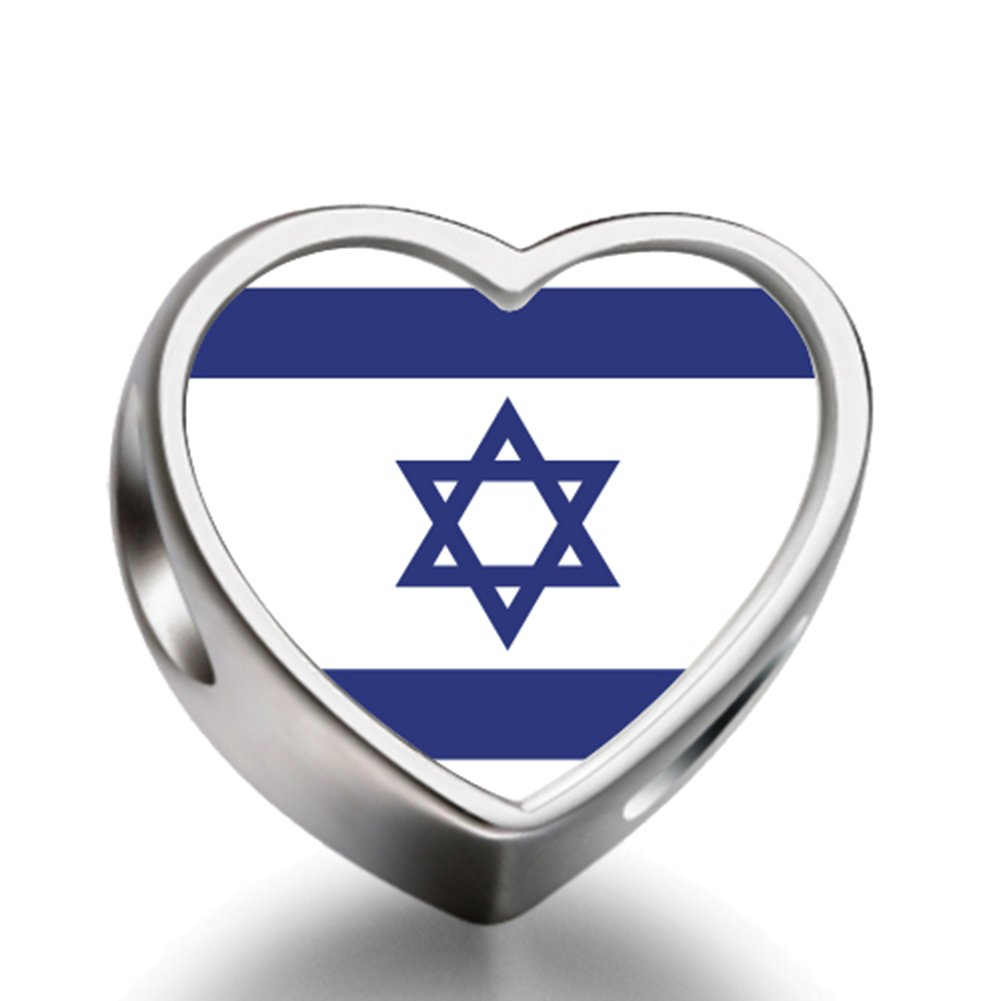 Israel flag Heart 92.5 Solid Sterling Silver Delicated Charms Bracelet Necklace Beads Waist Beads 6mm Hole Craft Metal Beads floating Charms for Women Charm Life