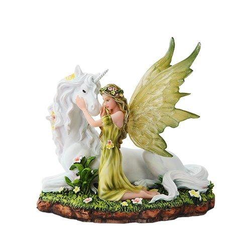 - PTC 7 Inch Green Winged Fairy with Magical Unicorn Statue Figurine