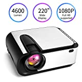 Video Projector, [2020 Upgraded] 4600 Lumen Mini Projector, 1080P Supported, Full HD 220
