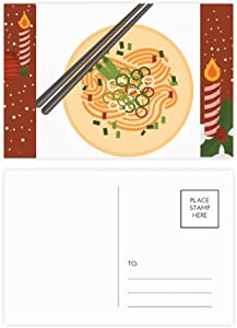 Chinese Dish Noodle Delicious Food Pattern Christmas Candle Greeting Postcard Congrats Mailing Card
