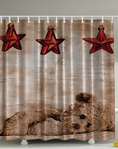 Baby Shower Curtains Cute Teddy Bear Star Sleeping Baby Decorations Lovely Adornment Dreaming Relax Decor Sweet Home Deco Fabric Kids Art Prints for Baby Nursery Bathroom Red Brown - Farmhouse Chocolate Sweets
