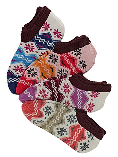 Winter Snowflake Knit Womens Non Slip Slipper Socks 4 Pack by Luxury Divas
