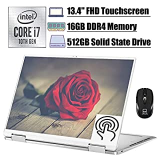 "Premium 2020 Dell XPS 13 7390 2 in 1 Laptop, 13.4"" FHD Touchscreen Display, 10th Gen Intel Quad-Core i7-1065G7, 16GB DDR4 512GB SSD, Thunderbolt Backlit KB FP MaxxAudio Win 10 + ePark Wireless Mouse"