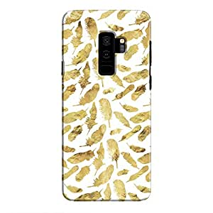 Cover It Up - Gold Feathers White Print Galaxy S9 Plus Hard Case