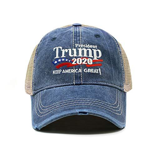 ChoKoLids Trump 2020 Keep America Great Campaign Embroidered USA Hat | Baseball Bucket Trucker Cap (Distressed Trucker TC102 Navy)