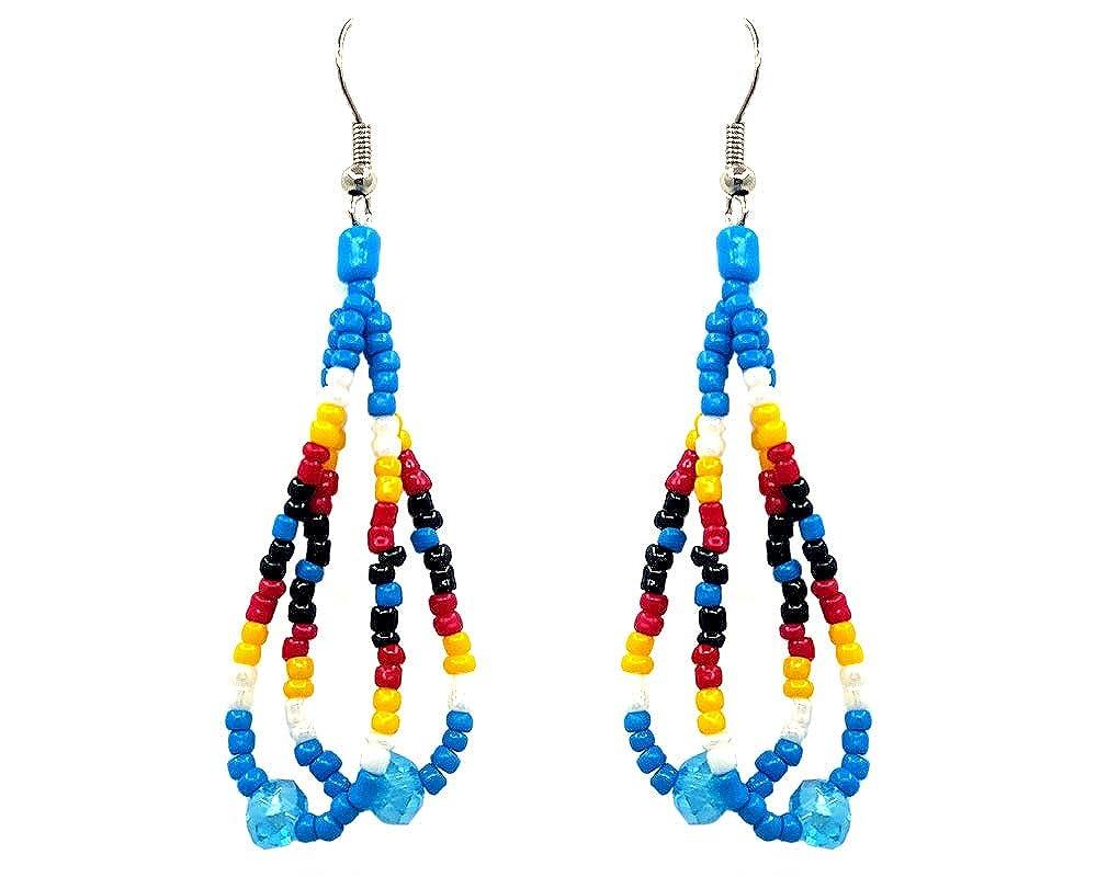 Mia Jewel Shop Handmade Native American Style Tribal Seed Bead Double Strand Crystal Bead Teardrop Hoop Dangle Earrings