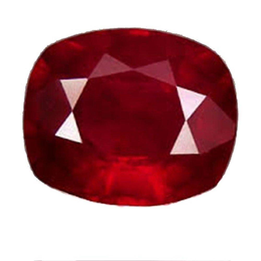 GEMS HUB Ruby (Manik/Manak) Cushion 2.25 Ratti Certified Natural Rashi Ratan Gemstone