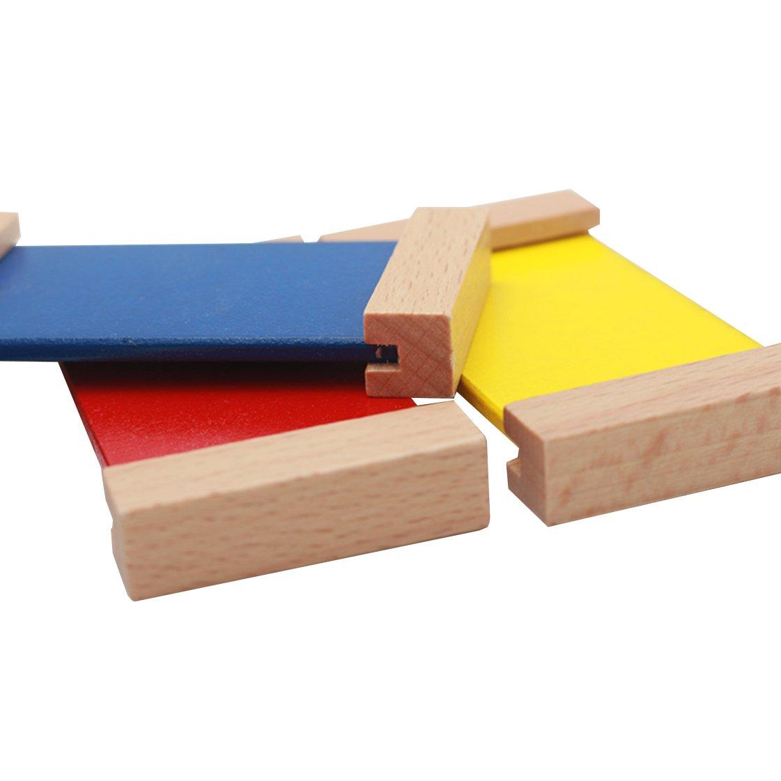 OFKPO Montessori Sensorial Mat/ériel Apprendre Couleur Tablet Bois Jouet dEveil Enfant B/éb/é Exercice Couleur 10x10x5.5 cm
