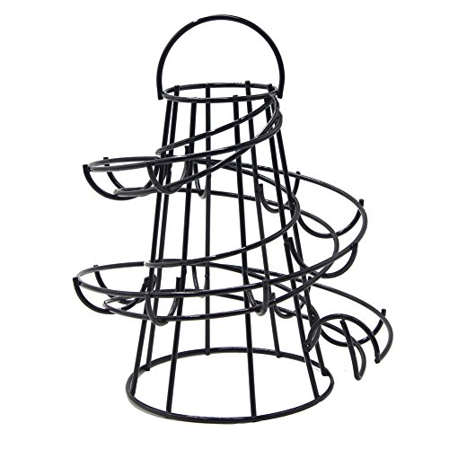 Yontree Spiraling Design Egg Skelter Dispenser Rack Egg Storage Holder Freestanding Black by Yontree