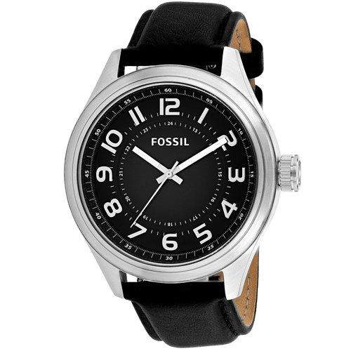 Fossil Classic Luminous Black Dial Silver Tone Black Leather Men's Watch BQ2244