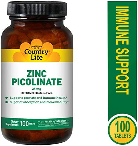 Country Life Zinc Picolinate 25 mg – 100 Tablets – Supports Prostate and Immune Health – Superior Absorption