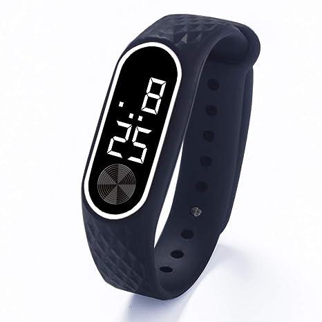 Skryo👍👍 Reloj de pulsera con pantalla digital LED para niños Reloj deportivo de gel