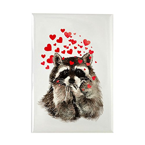 CafePress Raccoon Blowing Kisses Cute Animal Love Magnets Rectangle Magnet, 2