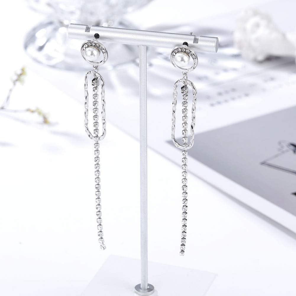 LINLIN Moda Ovalada Colgante de Perlas/Diamantes de imitación Pendientes Largos Pendientes de Cadena Pendientes de joyería para Mujeres