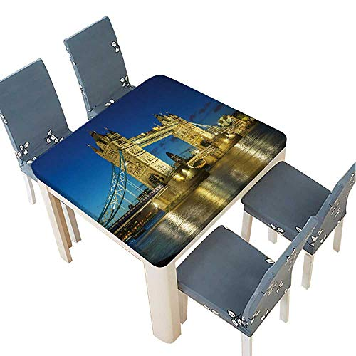 PINAFORE Polyester Tablecloth Tower Bridge from The North Bank at Dusk,London,UK Easy Care Spillproof 53 x 53 INCH (Elastic Edge) ()