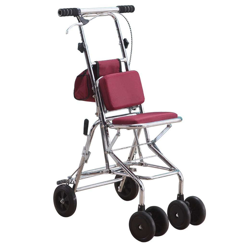 Folding Rollator Walker with Seat and Wheels, Includes Back Support, Rolling Walker for Seniors, Locking Handbrakes,Knee Walker Scooter Crutch Alternative in red