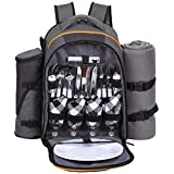 HapTim - 4 Person large Picnic Backpack With Stainless Steel Utensils, Oversized Water Resistent Fleece Blanket ,Big Cooler Compartment, Detachable Wine Bottle Holder, Good for Picnic Time (CA36021Gray-Olive)