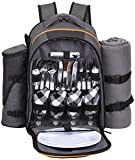 Hap Tim - 4 Person Picnic Backpack with Stainless Steel Utensils, Oversized Water Resistent Fleece Blanket,Big Cooler Compartment, Detachable Wine Bottle Holder, Good for Picnic Time (Gray-Olive)