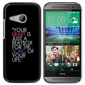 Qstar Arte & diseño plástico duro Fundas Cover Cubre Hard Case Cover para HTC ONE MINI 2 / M8 MINI ( Heart Beatbox Quote Music Life Song Love)