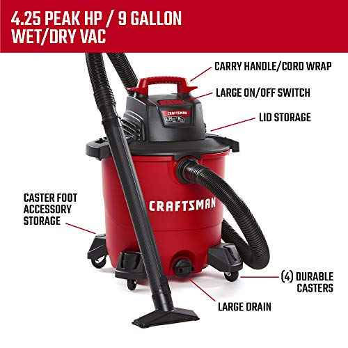 CRAFTSMAN CMXEVBE17590 9 gallon 4.25 Peak Hp Wet/Dry Vac, Portable Shop Vacuum with Attachments by Craftsman (Image #2)