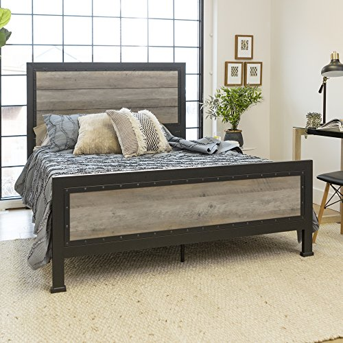 New Rustic Queen Industrial Wood and Metal bed - Includes Head and Footboard (Queen Complete Bed)