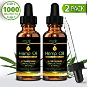 (2 Pack) Hemp Oil for Pain Anxiety Relief - (1000mg | 30ml) Full Spectrum All-Natural Organic Blend, Supports Calming and Relaxation Anti Inflammatory, Joint, Sleep Rich in Omega 3 & 6 Fatty Acids!