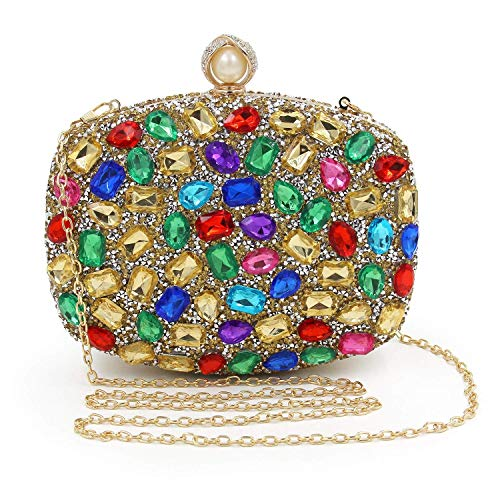 Evening Women Handbags For Diamond gold Clutch Purse Colorful Crystal Clutches Bag Wedding SODIAL A4Z5xng6Z