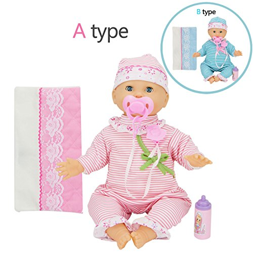 Baby Doll in 16-inch Vinyl Doll, Playing, Making Sounds with IC, Blinking Eyes, Jumpsuit, a Soft Blanket, a Little Feeding Bottle, a Pacifier with Clip, Random Color, Ages 3+ ------ MY Baby Doll