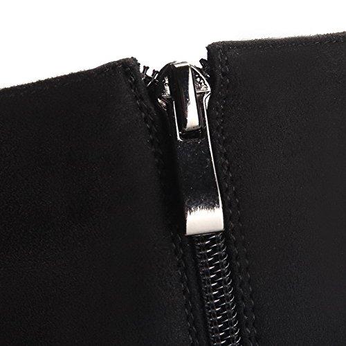 Alto Puntera Mujer cadenas Sólido Negro Gamuza Imitado Tacón Redonda AllhqFashion Botas qATX5w5