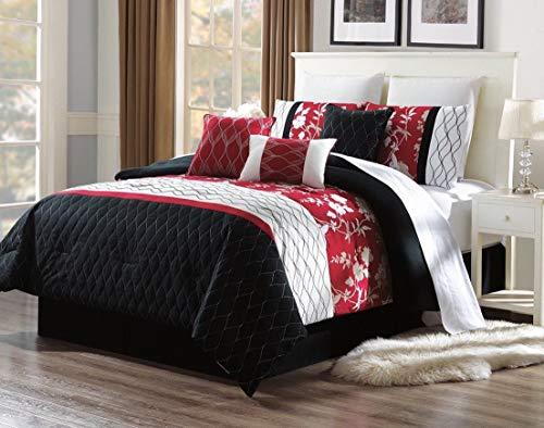 Kaputar 3PC Alex #7 Black RED Swirls Embroidered Duvet Comforter Bed Cover Set   Model CMFRTRSTS - 6283   King