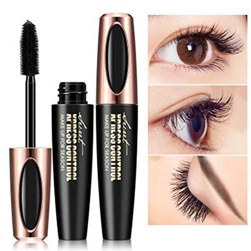4D Silk Fiber Eyelash Mascara Cream, Premium Black Waterproof Eyelash Extension Newest Eye Makeup cosmetic with 1 Eyelash Brush (black1) (Best Fiber Mascara 2019)