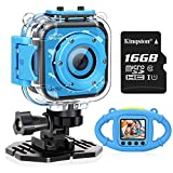 VanTop Junior K3 Kids Camera, 1080P Supported Waterproof Video Camera w/ 16Gb Memory Card, Extra Kid-Proof Silicon Case Blue