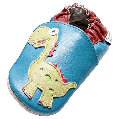 Jinwood designed by amsomo 12 Verschiedene Modelle - Boys - Jungen - Hausschuhe - Echt Leder Lederpuschen - Krabbelschuhe - Soft Sole/Mini Shoes Div. Groeßen 17/19-35/36 dinosaur oceanlue mini shoes