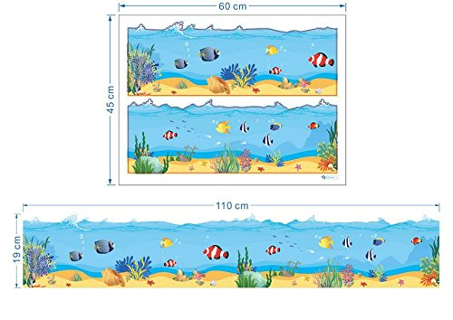 Fish Wall Border - Ecloud Shop Underwater World Baseboard Wall Stickers Bathroom Waistline/Ocean Under Sea Fishes Waves Baseboard Stripe Border Wall Decals Bathrooms Kitchen Kids Rooms Decals