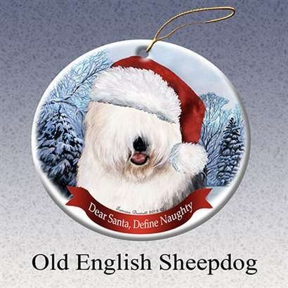 Holiday Pet Gifts Old English Sheep Santa Hat Dog Porcelain Christmas Tree (Great China Sheep Plush)