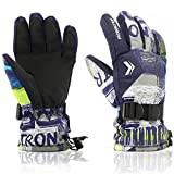 Ski Gloves,RunRRIn Winter Warmest Waterproof and Breathable Snow Gloves for Mens,Womens,ladies and Kids Skiing,Snowboarding(Dark Blue-Grey-XL)