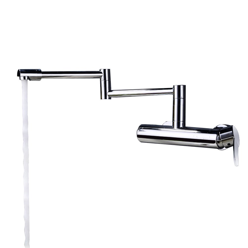 JinYuZe Wall Mounted Swing Arm Kitchen Sink Faucet,Single Handle Faucet in Chrome