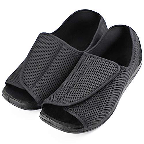 Men's Diabetic Footwear Swollen Feet Slippers Adjustable Orthopedic Wide Shoes Open Toe for Diabetic & Edema Elderly Men (12 M US, Adjustable - Black)