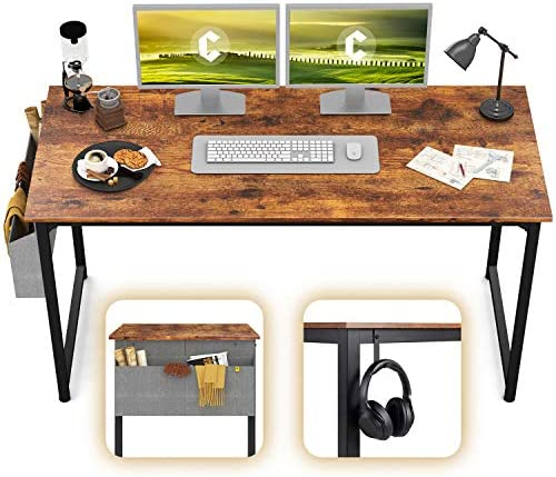 CubiCubi Computer Desk 63 Study Writing Table for Home Office, Modern Simple Style PC Desk, Black Metal Frame, Rustic