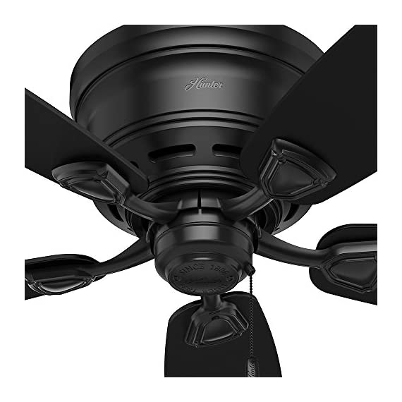 Hunter Indoor / Outdoor Low Profile Ceiling Fan, with pull chain control - Sea Wind 48 inch, Black, 53118 5 WhisperWind motor delivers ultra-powerful air movement with whisper-quiet performance so you get the cooling power you want without the noise you don't Reversible motor allows you to change the direction of your fan from downdraft mode during the summer to updraft mode during the winter 5 Matte Black Plastic blades included