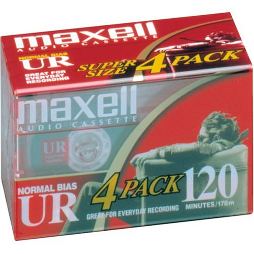 MAXELL UR-120 Blank Audio Cassette Tape -4 pack (Discontinued by Manufacturer) (120 Audio)