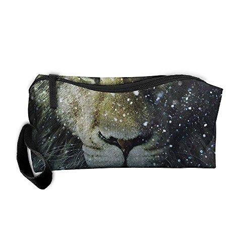 Cosmetic Bags Brush Pouch Makeup Bag Snow Tiger Zipper Wallet Hangbag Pen Organizer Carry Case Wristlet Holder -