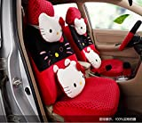 1 set classical cartoon red black universal car front and rear seat covers car waist pillows neck pillows hand brake cover
