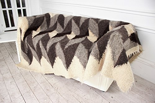Image of Gray Wool Throw Hand Woven Blanket Natural Plaid With Geometric Pattern Tribal Home Decor