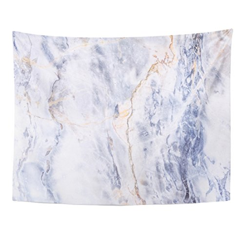 TOMPOP Tapestry Blue Gold Gray Light Marble Stone Watercolor White Color Home Decor Wall Hanging for Living Room Bedroom Dorm 60x80 Inches