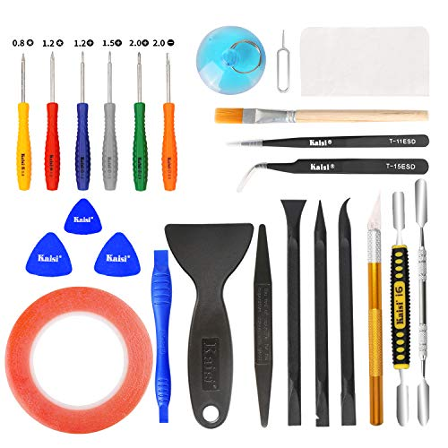 Price comparison product image Kaisi 30 in 1 Professional Electronics Screen Opening Pry Tool Repair Kit with Steel and Carbon Fiber Nylon Spudgers,  Double Side Adhesive Tape and 6 Screwdrivers for Open Cellphone,  Laptops,  Tablets