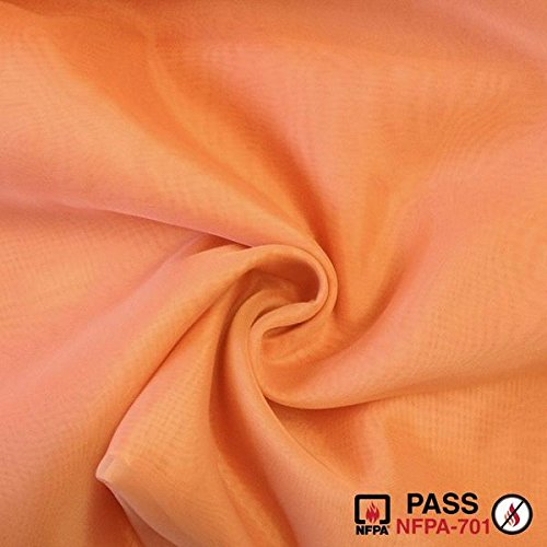 FR Sheer Voile Fabric Fire Retardant 118' Wide Window Curtain Drapery and Apparel per yard 100% polyester (1 Yard, Coral)