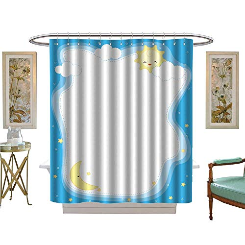 (luvoluxhome Shower Curtains Sets Bathroom Sun and Moon Border Frame Background for Greet Cards Invitations Fabric Bathroom Decor Set with Hooks W69 x)